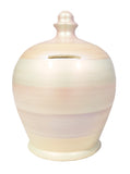Terramundi Money Pot Metallic White With Pearlescent Multi Coloured Stripes - C73