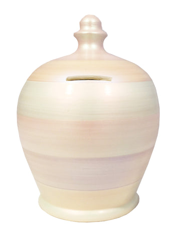 Metallic Money Pot White With Pearlescent Multi Coloured Stripes - C73