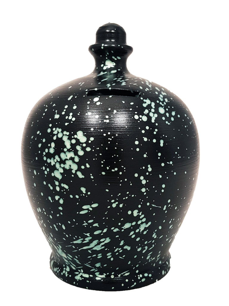 Terramundi Money Pot Galaxy Black With Pearlescent Green Splashes - C74