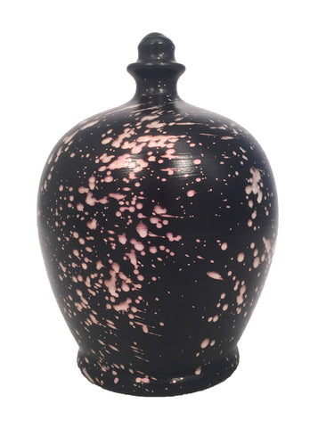 Terramundi Money Pot Galaxy Black With Pearlescent Pink Splashes - C75