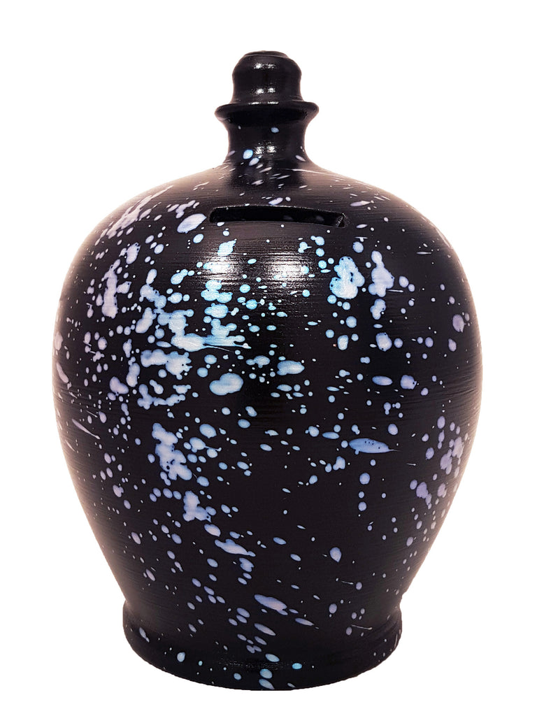 Terramundi Money Pot Galaxy Black With Pearlescent Blue Splashes - D74