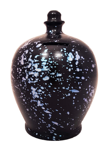 Galaxy Money Pot Black With Pearlescent Blue Splashes - D74
