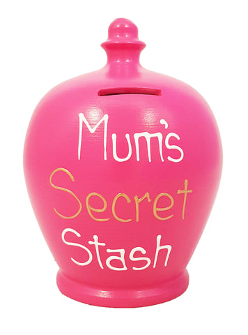 'Mum's Secret Stash' Money Pot Fuscia Pink - S305