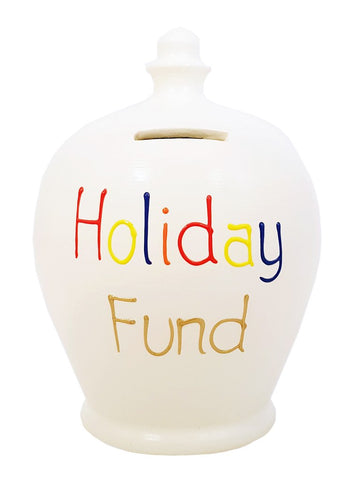 Terramundi Money Pot EXPRESS 'Holiday Fund' White with multicolours - EXS306
