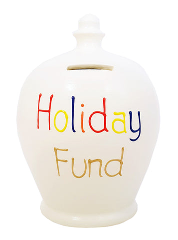 Terramundi Money Pot 'Holiday Fund' White with Multicolours - S306