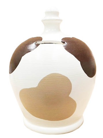 Terramundi Money Pot Dog White With Dark And Light Brown Patches - A92