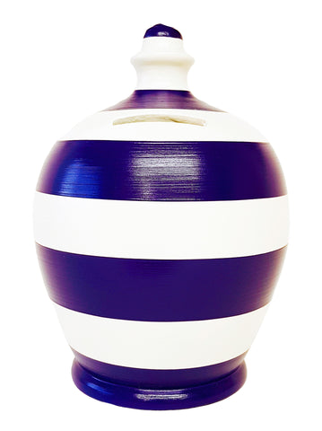 Terramundi Money Pot Stripe Purple and White - A94