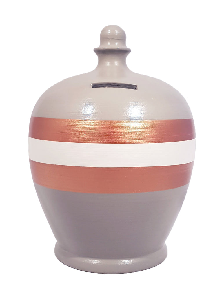 Stripe Money Pot Light Grey with White And Copper - A79