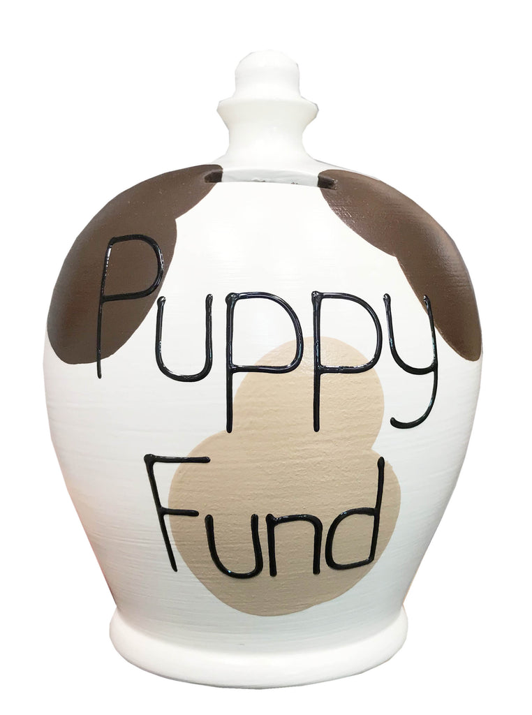 EXPRESS Dog Money Pot Brown Patches With 'Puppy Fund' In Black - EXWEA92S221