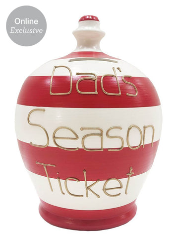 Terramundi Money Pot 'Dad's Season Ticket' Red And White Stripes - WEC13S326