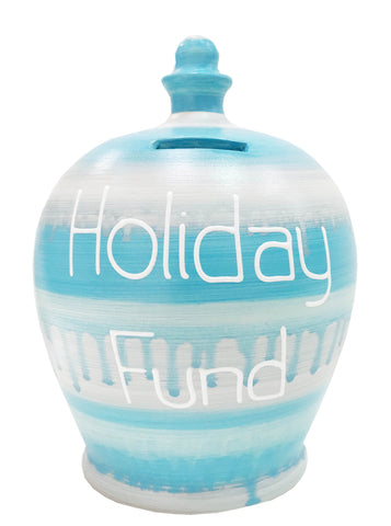 EXPRESS Slick Money Pot Pale Blue & Silver With 'Holiday Fund' In White - EXWEC38S306