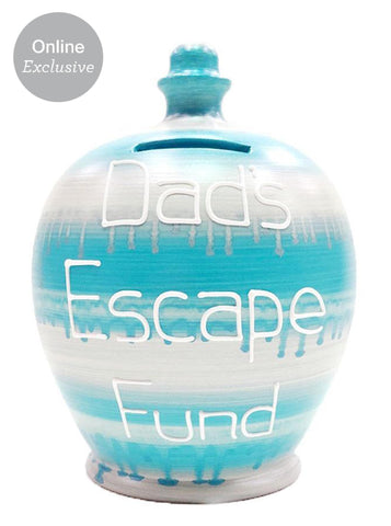 Terramundi Money Pot 'Dad's Escape Fund' Pale Blue And Silver Slick - WEC38S325