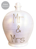 Terramundi Money Pot Pearlescent white With 'Mr & Mrs' In Gold - WEC77S26