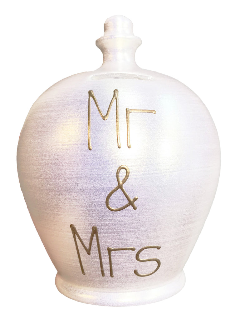 Terramundi Money Pot EXPRESS With 'Mr & Mrs' In Gold on Twinkle Twinkle Pearlescent White - EXWEC77S26
