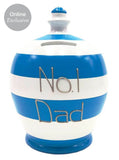 Terramundi Money Pot 'No.1 Dad' White And Blue Stripes - WED5S324