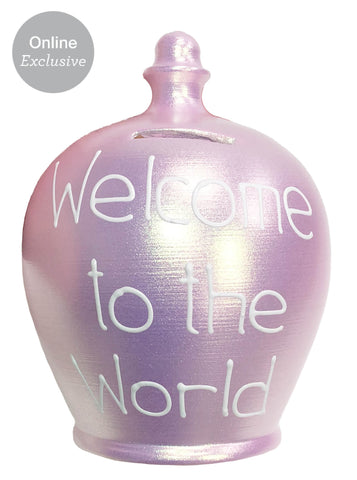 Terramundi Money Pot 'Welcome To The World' In White on Twinkle Twinkle Baby Pink - WED78S329