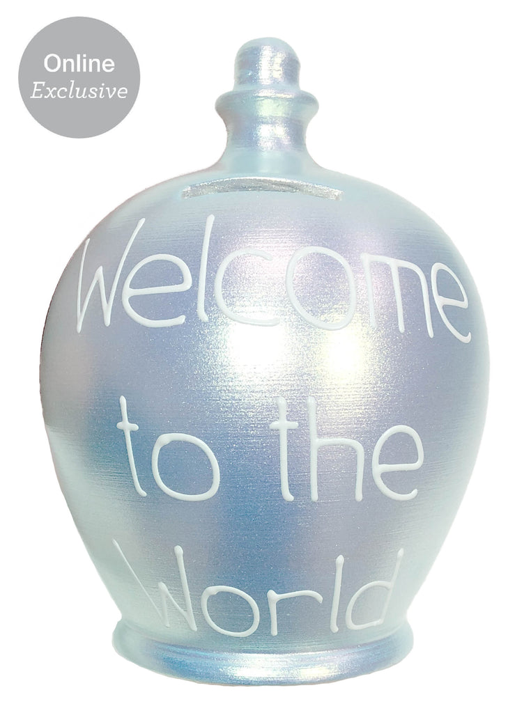 Terramundi Money Pot 'Welcome To The World' In White on Twinkle Twinkle Baby Blue - WED81S328