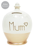 Terramundi Money Pot 'Mum' Heart Rose Gold Glitter - WEG9S332