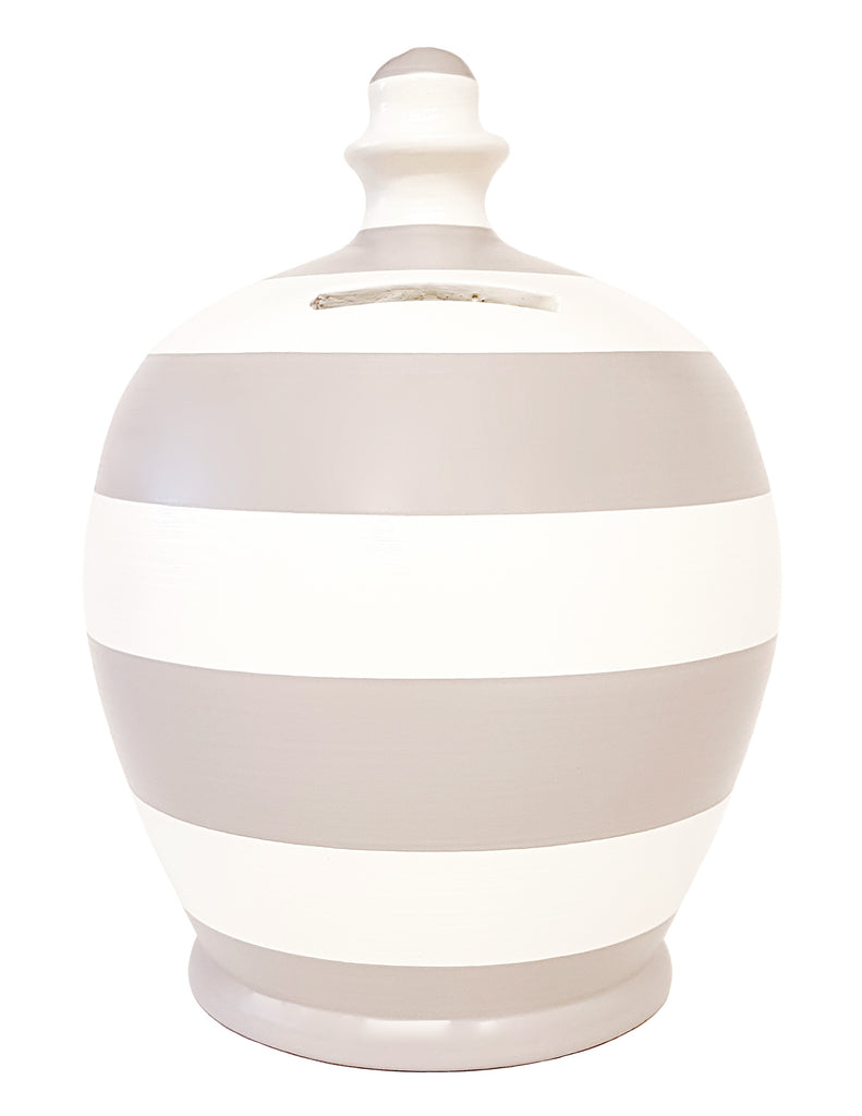 Terramundi Money Pot Stripe Light Grey and White - A93