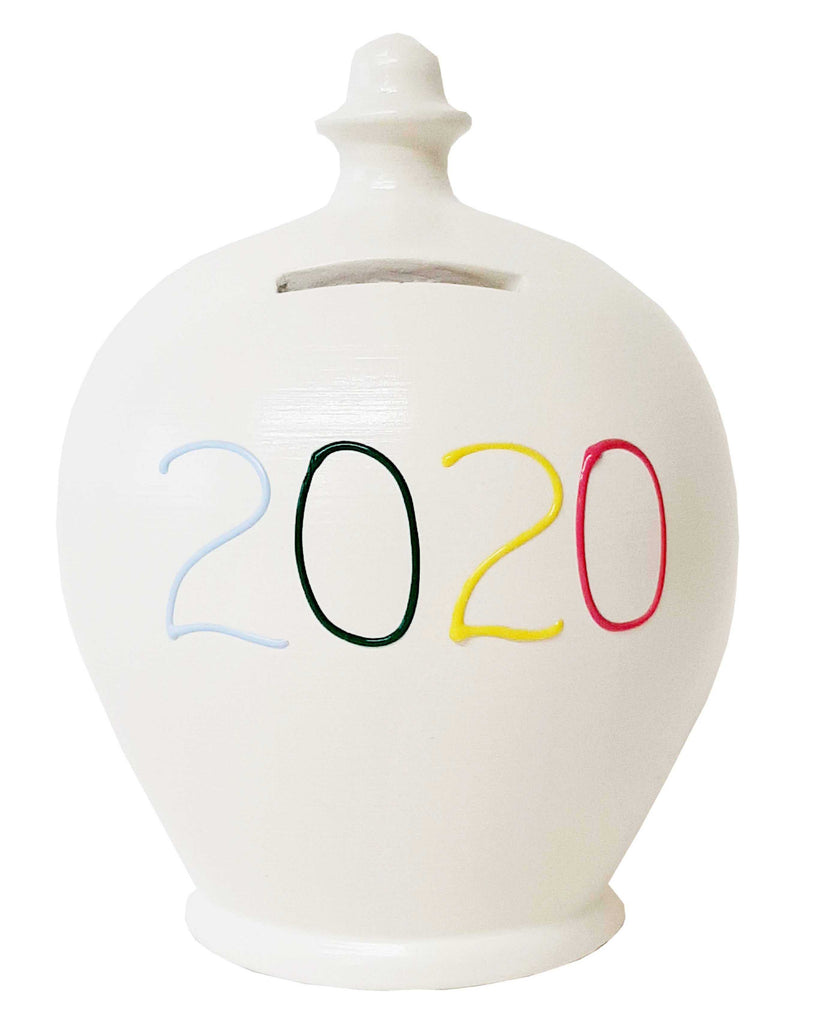 Terramundi Money Pot '2020' White With Pale Blue, Green, Yellow And Red - X22