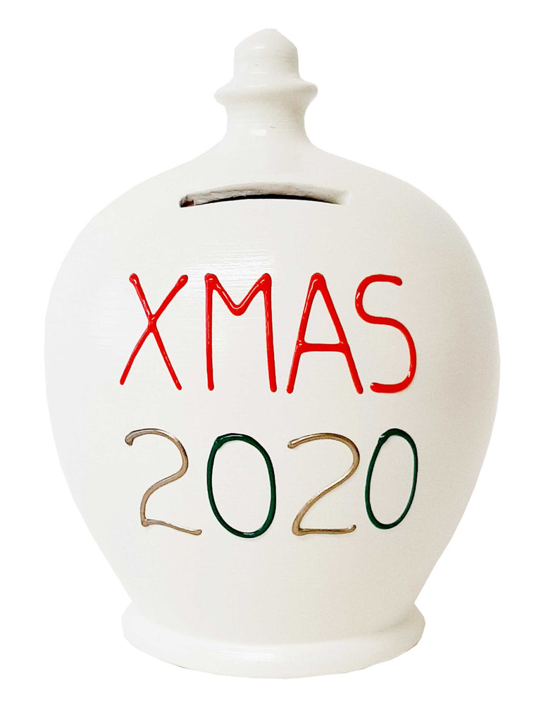 Terramundi Money Pot 'Xmas 2020' White With Red, Gold and green - X23