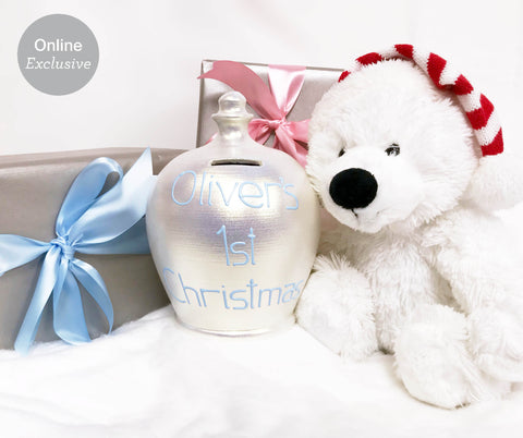 Terramundi Money Pot Baby's '1st Christmas' White Twinkle - WEC77X21