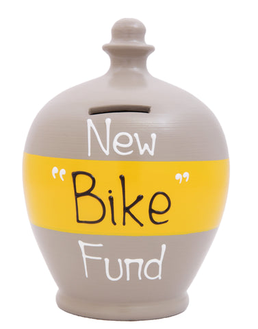 'New Bike Fund' Money Pot Grey with Yellow Band - S294