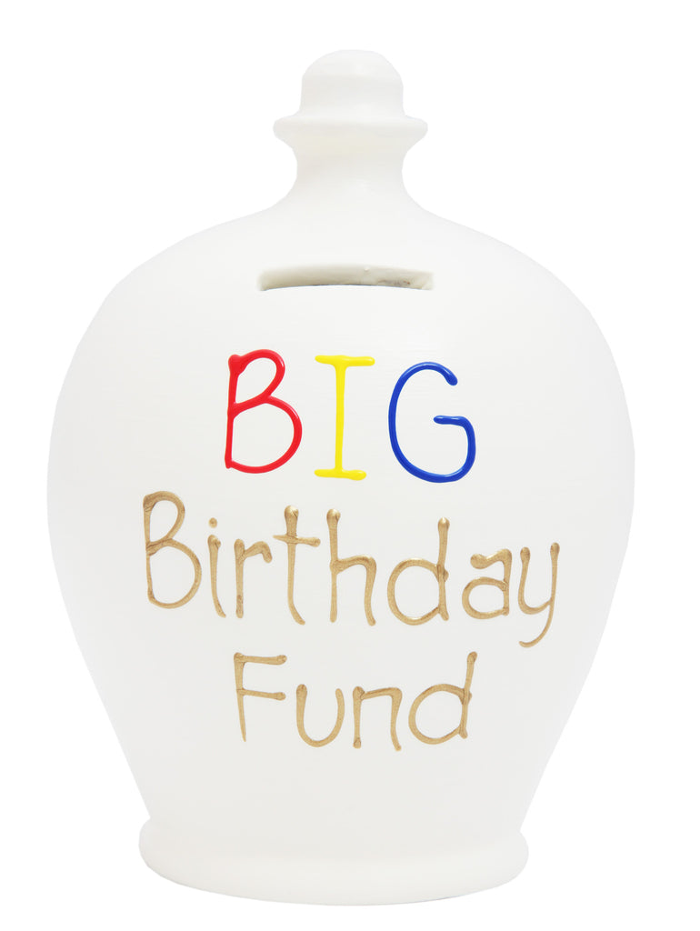 'BIG Birthday Fund' Money Pot White with Gold and Multi Coloured - S295