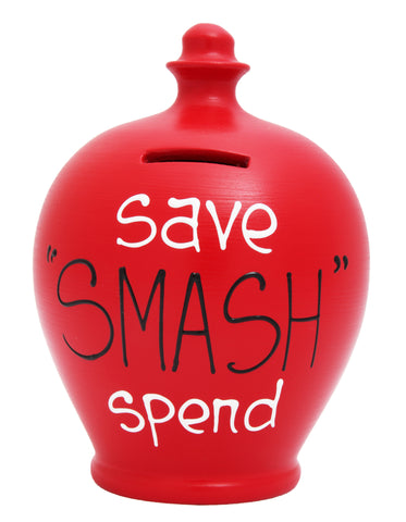 'Save Smash Spend' Money Pot Red with Black and White - S296