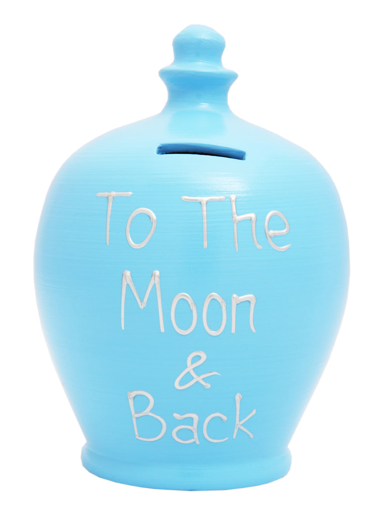 'To The Moon And Back' Money Pot Soft Blue - S298
