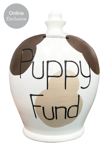 Terramundi Money Pot 'Puppy Fund' White and Brown - WEA92S221