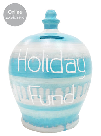 Slick Money Pot Pale Blue & Silver With 'Holiday Fund' In White - WEC38S306