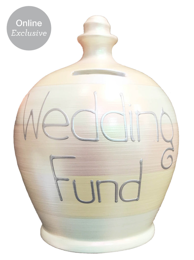Terramundi Money Pot Pearlescent Multi Coloured Stripes With 'Wedding Fund' In Silver - WEC73S31