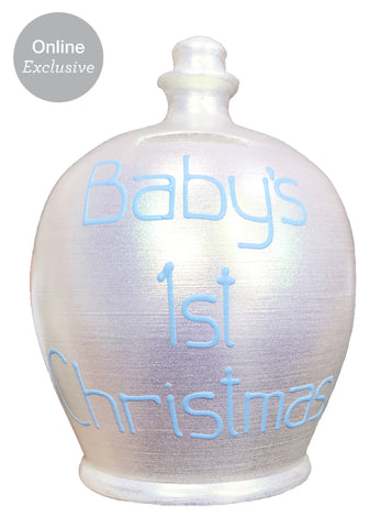 Terramundi Money Pot 'Baby's 1st Christmas' In Blue on Twinkle Twinkle Pearlescent White - WEC77X10