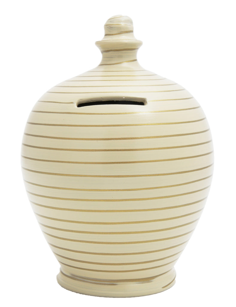 Stripe Money Pot Gold and Beige - A30