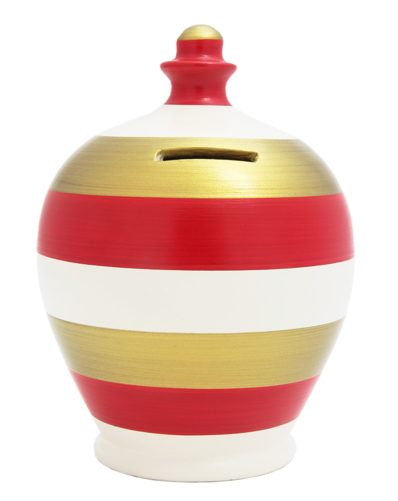 Stripe Money Pot White, Red and Gold - A55