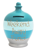 Stripe Money Pot Aqua, Baby Blue, Pale Blue and Silver - A64