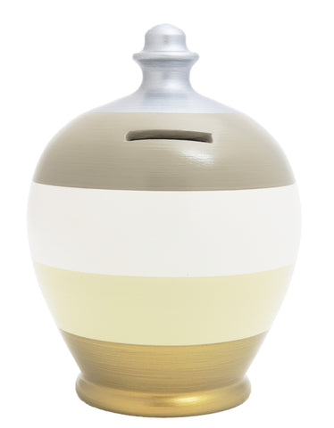 Stripe Money Pot White with Grey, Gold, Beige and Silver - A67