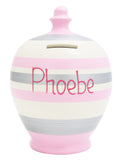 Stripe Money Pot Pale Pink White and Silver - A68
