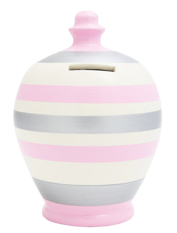 Terramundi Money Pot Stripe Pale Pink White and Silver - A68