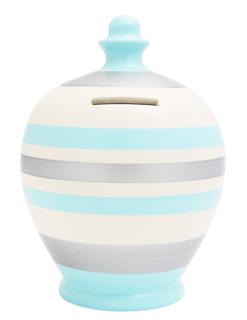 Stripe Money Pot Baby Blue White and Silver - A69