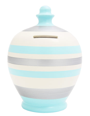 Terramundi Money Pot Stripe Baby Blue White and Silver - A69