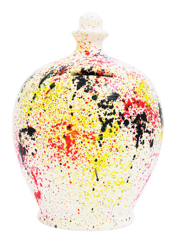 Splash Graffiti Money Pot White with Black, Red and Yellow - A72