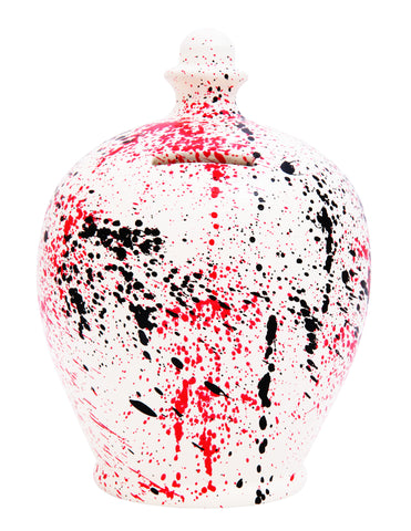 Splash Graffiti Money Pot White with Red and Black - A73