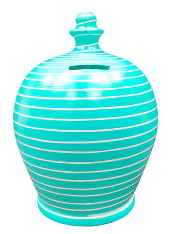Terramundi Money Pot EXPRESS Stripe Aqua and White - EXA87