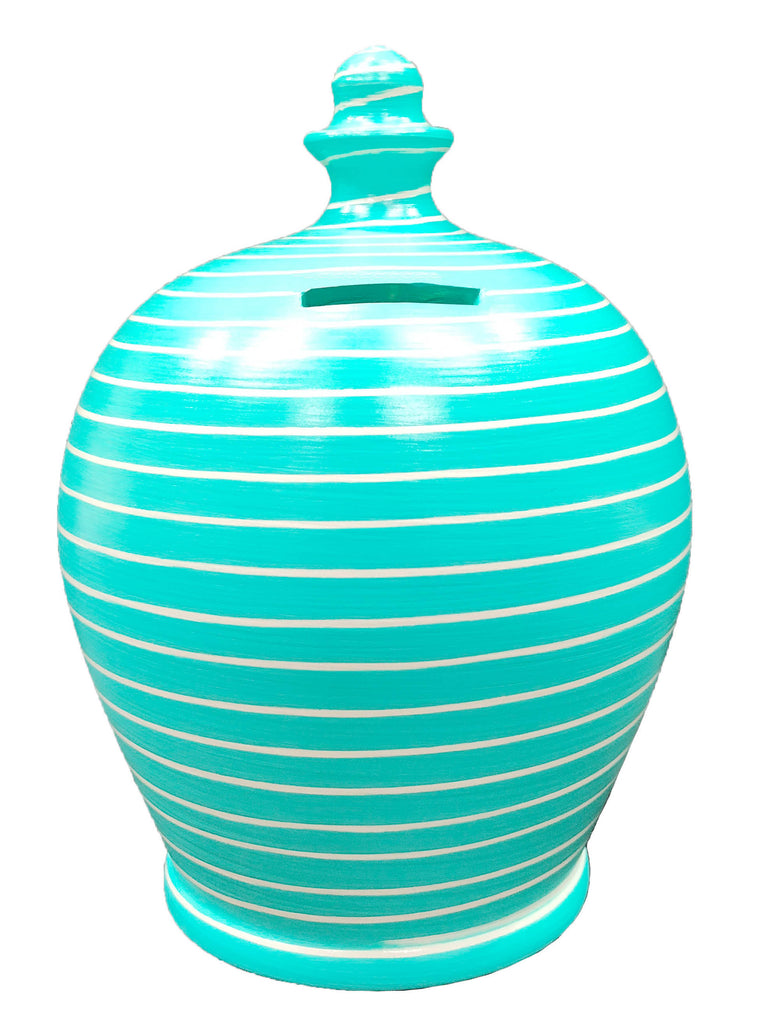 Terramundi Money Pot Stripe Aqua and White - A87