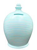 EXPRESS Stripe Money Pot Baby Blue and White - EXA88