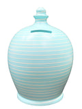 Stripe Money Pot Baby Blue and White - A88
