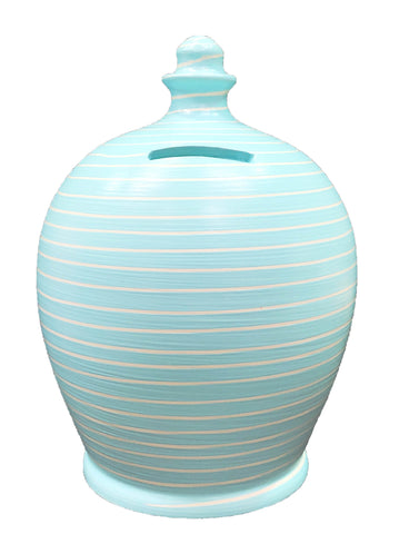 Terramundi Money Pot Stripe Baby Blue and White - A88