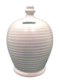 Stripe Money Pot Light Grey and White - A89